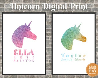 Unicorn Print Picture | Children's Room Decoration | Printable Wall Art | Unicorns for Girls | Unicorns for Boys | Pink or Green (Digital)