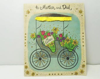 1940's Mother And Dad Easter Card / Buzza - Cardozo Heart To Heart Hollywood Card