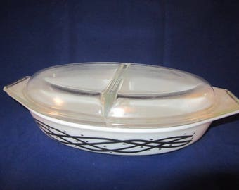 Pyrex Divided Casserole Dish with Lid - Barbed Wire - 1958 Promo - First Divided Pyrex Dish Made