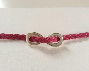 Insert Fuchsia leather bracelet