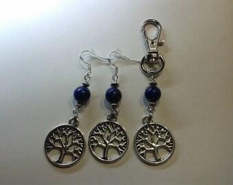 Earrings + bag charm tree of life with lapis lazuli bead