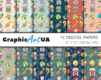 Baby Digital Paper Pack, Scrapbook Paper, Vintage Background