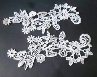 x 1 pair guipure lace floral white Venice sewing polyester 25 x 12 cm 35