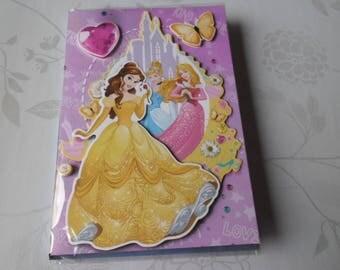 x 3D Princesses multicolored + 1 double card envelope 19.5 x 13.5 cm