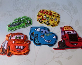 x 5 mixed patches-patch Thermo embroidered Cars of 5 different designs (A)