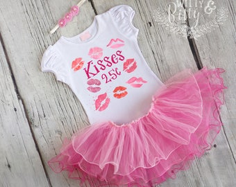 Kisses 25 Cents Pink Tutu Outfit, Valentines Day Outfit, Pink Tutu Outfit, Shirt Headband Tutu Outfit - C398K