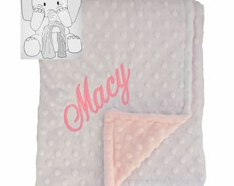 Baby Pink and Snow White Personalized Minky Blanket, Custom Minky Blanket, Personalized Baby Blanket, Baby Girl Minky Blanket, Baby Gift