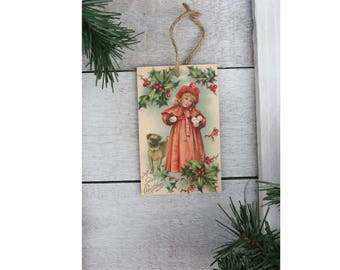 Victorian Style Christmas Wood Ornament