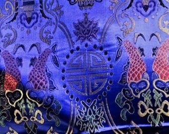 Heavy satin fabric, jacquart, Chinese, dark blue prints