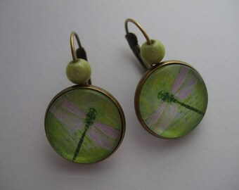 "Pink new Green Pearl Stud Earrings cabochon gem wings fantasy art ""Dragonfly"""