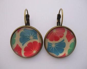 """Citrus"" cabochon gem fruit grapefruit orange Stud Earrings green blue red white"