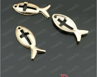 10 charms 20 * 8MM F26855 gold fish