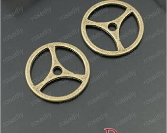 10 charms in bronze 19.5 mm gear D28003