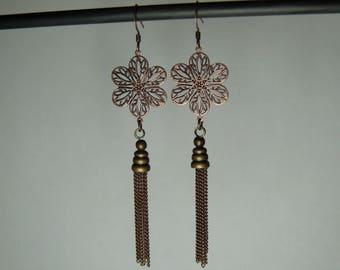 Flowers and copper metal chandelier earrings