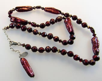 necklace freshwater pearl garnet sterling silver