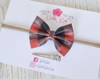 Baby Bow, Baby Headband, Red Buffalo Check Leather Bow, Breakaway Bow