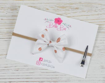 Baby Bow, Baby Headband, Rose Gold Dot Sailor Bow Infant Size, Breakaway Bow