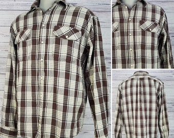 Vintage Rockport Long Sleeve Brown Flannel Shirt Men's 90s Medium Grunge Plaid Button Up Long Sleeve 100% Cotton Oxford Shirt