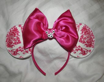 Minnie Ears Disney Ears Pink Jewel Damask print ears Free Gift with Purchase