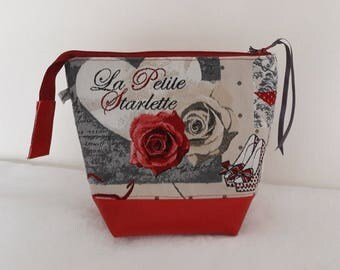 "Toiletry bag in fabric ""little starlet"" bottom in red imitation leather, beige coated cotton waterproof interior"