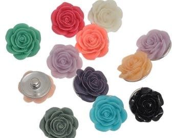 AU56 - A resin flower for diameter 21mm snap jewelry