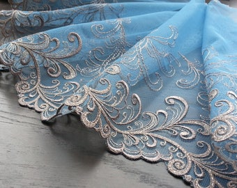 1yd (0.91m) of Embroidered Tulle Lace-  Blue - 22cm(8.6inch) Wide,RL_EM007
