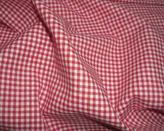 Fabric red and white gingham checked cotton