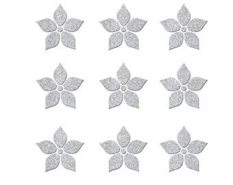 Lot of 9 flowers of 3 cm in flex fusible silver glitter