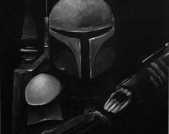 Painting Star Wars BOBA FETT - 1 - by VALkYE 50x50cm