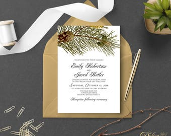 Outdoor Wedding Invitation Forest Wedding Printable Rustic Wedding Invitation Forest Pinecone Wedding Invitation Green Invitation Editable