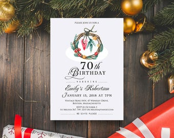 Christmas Wreath Birthday Invitation Watercolour Wreath Birthday Invite Printable Winter Birthday Party Invitation Template Adult Birthday