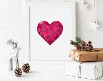 Valentine Decor Heart Valentines Print Printable Poster Love Print Geometric Wall Art Red Valentine Heart Wedding Wall Art Digital Download