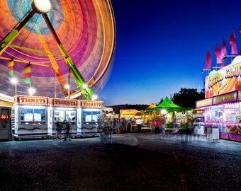 Carnival Photography, Carnival photo, Ferris Wheel photo, Fine art, Amusement Park, State fair, Wall art, Digital download