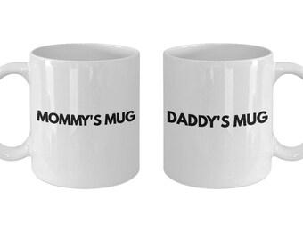 Mug Gift Set for Parents - Mommy's Mug & Daddy's Mug - Two, 11 oz Coffee Tea Cups - Christmas Birthday Hanukkah Gift Mom Dad Mother Father