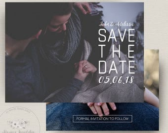 Save The Date Template, Save The Date Printable Template, Printable Save The Date, Wedding Announcement, Instant Download, PSD Template