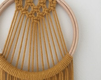 Medium mustard yellow macrame dreamcatcher, home decor macrame wood and metal