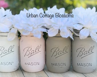 Painted mason jars in white, powder pink, aged gray, taupe. Perfect for: wedding, baby shower, bathroom, kitchen, gift, flowers, mantle