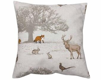 Tatton Woodland Stag Fox Countryside Animal Print Cushion Cover