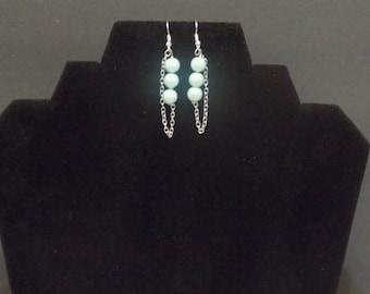 3 beaded aqua silver chain earrings