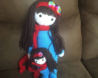 Handmade amigurumi crochet Mama and baby doll
