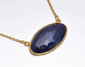 """Connector Chain Necklace : 20"""" Genuine Natural Blue Sapphire Oval Gemstone 925 Sterling Silver Chain Necklace Gift for HER With Gold Plating"""