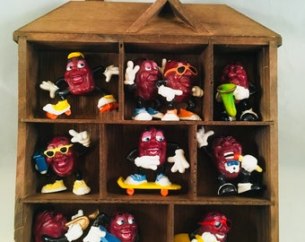 1980's California Raisens Set of 10 in Display