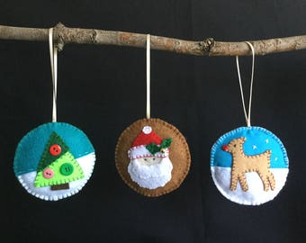 Christmas ornaments, felt ornaments, Christmas decorations, Christmas banners, felt Christmas ornaments, Christmas tree ornaments, keepsakes