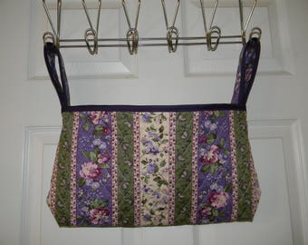 Wheelchair Tote Bag in Purple and Green with floral and stripes