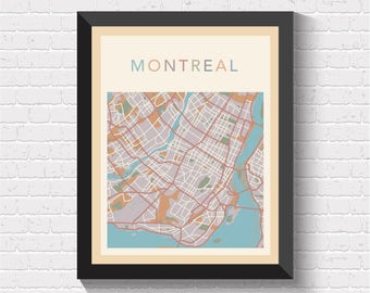 Montreal Map, Montreal Street Map, Montreal City Map, Montreal Art, Montreal Print, Montreal Poster, Montreal, Quebec, Canada, Quebec Art