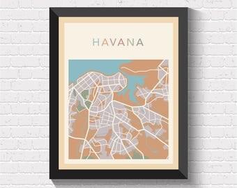 Havana Map, Havana Street Map, Havana City Map, Havana Art, Havana Print, Havana Poster, Havana Map Print, Havana Art Print, Havana, Cuba