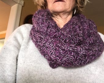Hand knit mohair infinity scarf