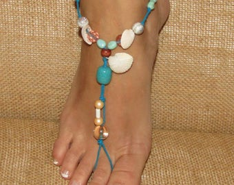 Sea Shell Barefoot Sandals, Barefoot Sandal, Feet Jewelry, Beach Shoes, Beach Wedding Barefoot Sandals, Ankle Bracelets, Feet Thongs, Anklet