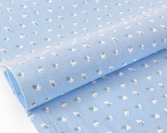 Cotton fabric soft floral flocked blue x 50cm