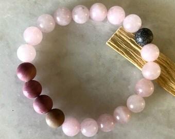 Bracelet Femme / Rose Quartz Bracelet / Delicate Bracelet / Mantra Bracelet / Rhodonite / Energy Bracelet / Mala Beads Bracelet